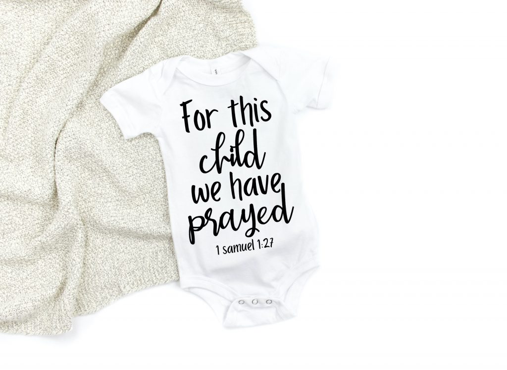 after years of infertility now dealing with survivors guilt, this is the perfect baby bodysuit, for this child we have prayed