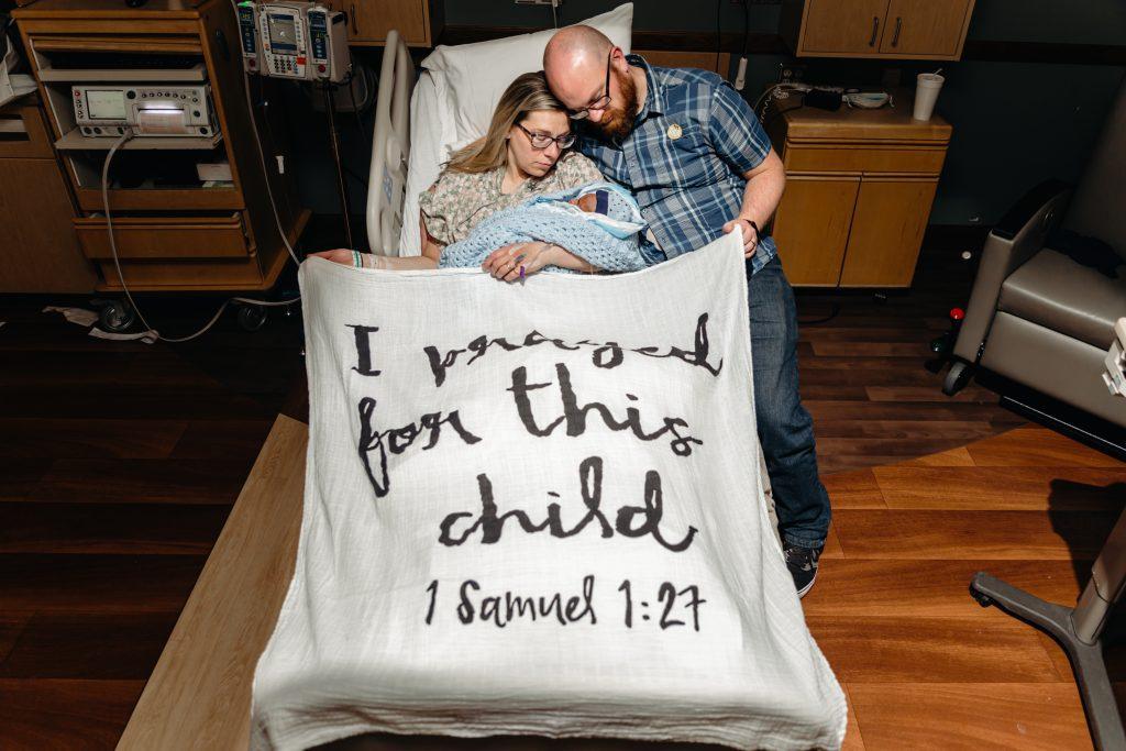 I prayed for this Child Modern Burlap Swaddle holding Ethan our stillborn