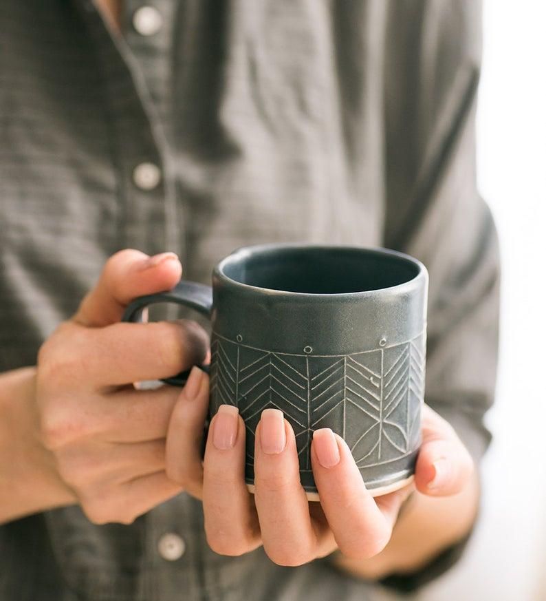 Etsy Black Ceramic Mug