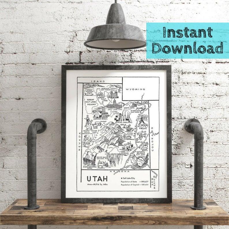 Etsy Utah Digital download print